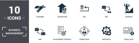 Business Management icon set. Contain filled flat charisma, competence, perspective vision, courage, b2b, b2c, turnover icons. Editable format.