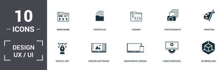 Design Ui And Ux set icons collection. Includes simple elements such as Wireframe, Portfolio, Coding, Photography, Painting, Design Software and Responsive Design premium icons.