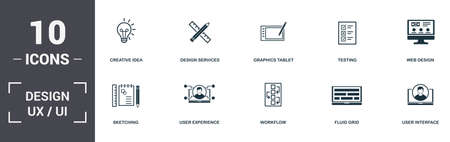 Design Ui And Ux set icons collection. Includes simple elements such as Design Services, Graphics Tablet, Testing, Web Design , Digital Art, Workflow and Fluid Grid premium icons.