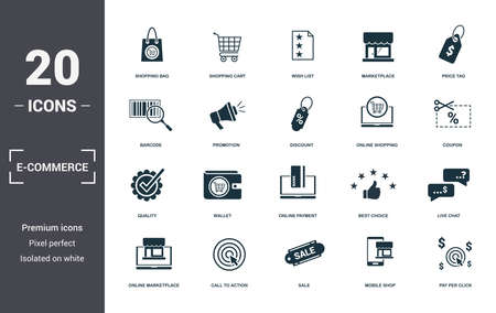 E-Commerce set icons collection. Includes simple elements such as Shopping Bag, Shopping Cart, Wish List, Marketplace, Price Tag, Wallet and Online Payment premium icons. Foto de archivo - 130071394