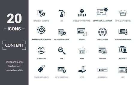Content icon set. Contain filled flat members only, native advertising, off-page optimization, pagerank, private label rights, responsive web design, return on investment icons. Editable format. Фото со стока