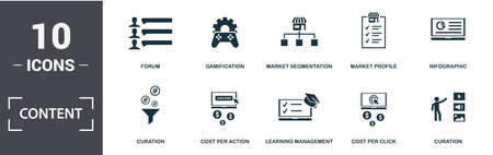 Content icon set. Contain filled flat cms, strategy, digital content, viral content, media plan, viral video, click-through rate, content marketing icons. Editable format.
