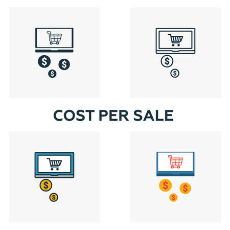 Cost Per Sale icon set. Four elements in diferent styles from content icons collection. Creative cost per sale icons filled, outline, colored and flat symbols. Illusztráció