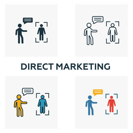 Direct Marketing icon set. Four elements in diferent styles from content icons collection. Creative direct marketing icons filled, outline, colored and flat symbols.