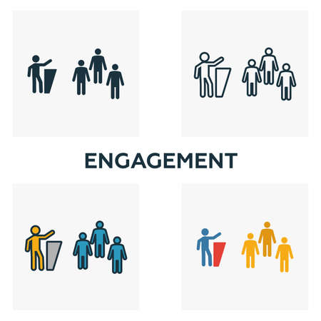 Engagement icon set. Four elements in diferent styles from content icons collection. Creative engagement icons filled, outline, colored and flat symbols.
