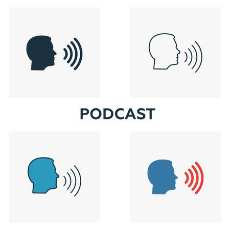 Podcast icon set. Four elements in diferent styles from content icons collection. Creative podcast icons filled, outline, colored and flat symbols.