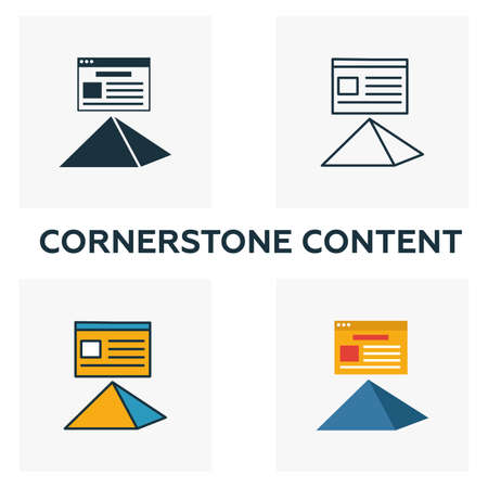 Cornerstone Content icon set. Four elements in diferent styles from content icons collection. Creative cornerstone content icons filled, outline, colored and flat symbols.