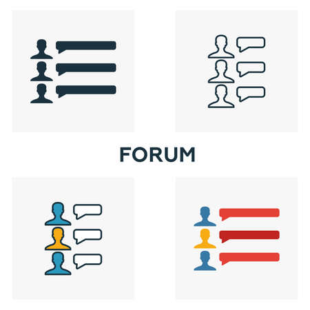 Forum icon set. Four elements in diferent styles from content icons collection. Creative forum icons filled, outline, colored and flat symbols.  イラスト・ベクター素材