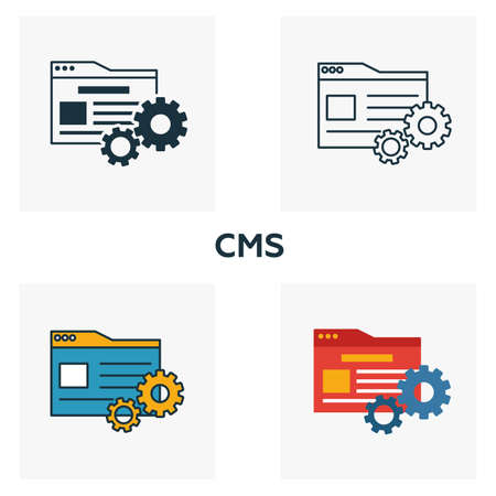 Cms icon set. Four elements in diferent styles from content icons collection. Creative cms icons filled, outline, colored and flat symbols.