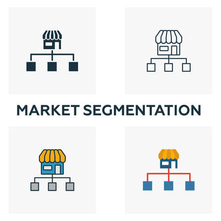 Market Segmentation icon set. Four elements in diferent styles from content icons collection. Creative market segmentation icons filled, outline, colored and flat symbols.