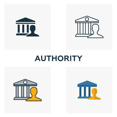 Authority icon set. Four elements in diferent styles from content icons collection. Creative authority icons filled, outline, colored and flat symbols.  イラスト・ベクター素材