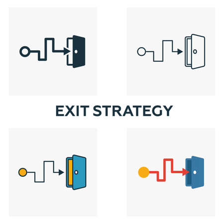 Exit Strategy outline icon. Thin line element from crowdfunding icons collection. UI and UX. Pixel perfect exit strategy icon for web design, apps, software, print usage.