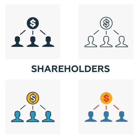 Shareholders outline icon. Thin line element from crowdfunding icons collection. UI and UX. Pixel perfect shareholders icon for web design, apps, software, print usage.