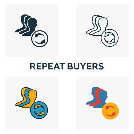 Repeat Buyers icon set. Four elements in diferent styles from content icons collection. Creative repeat buyers icons filled, outline, colored and flat symbols.