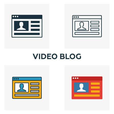 Video Blog icon set. Four elements in diferent styles from content icons collection. Creative video blog icons filled, outline, colored and flat symbols. Ilustração