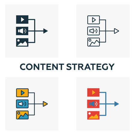 Content Strategy icon set. Four elements in diferent styles from content icons collection. Creative content strategy icons filled, outline, colored and flat symbols.