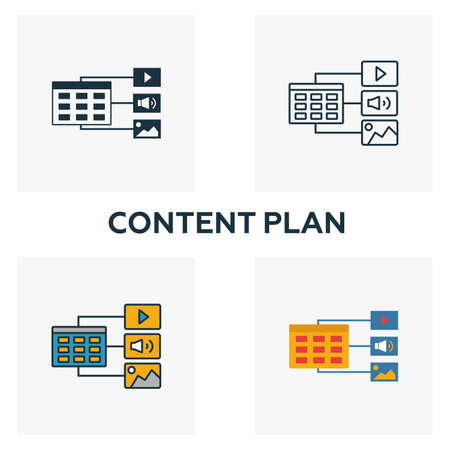 Content Plan icon set. Four elements in diferent styles from content icons collection. Creative content plan icons filled, outline, colored and flat symbols.