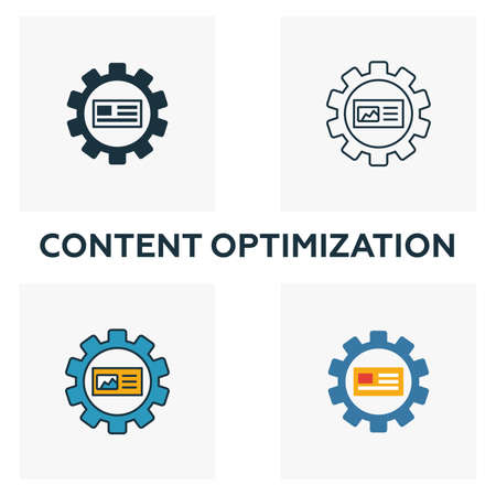Content Optimization icon set. Four elements in diferent styles from content icons collection. Creative content optimization icons filled, outline, colored and flat symbols.
