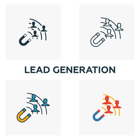 Lead Generation icon set. Four elements in diferent styles from content icons collection. Creative lead generation icons filled, outline, colored and flat symbols.