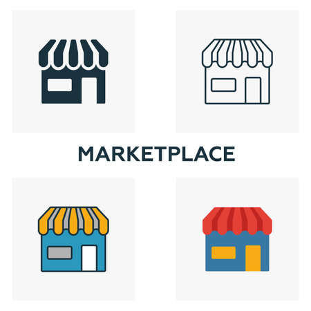 Marketplace icon set. Four elements in diferent styles from crowdfunding icons collection. Creative marketplace icons filled, outline, colored and flat symbols.