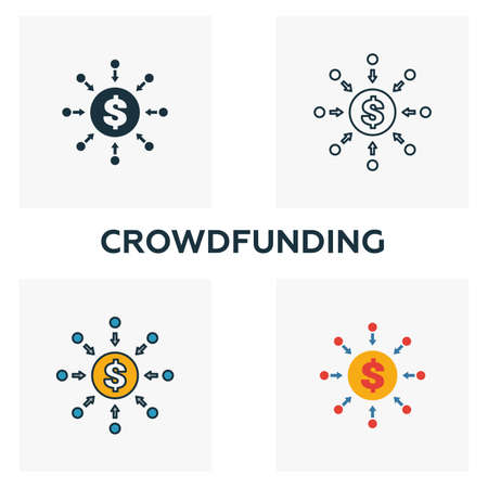 Crowdfunding outline icon. Thin line element from crowdfunding icons collection. UI and UX. Pixel perfect crowdfunding icon for web design, apps, software, print usage.  イラスト・ベクター素材