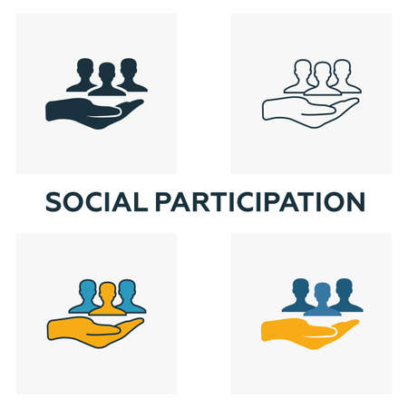 Social Participation outline icon. Thin line element from crowdfunding icons collection. UI and UX. Pixel perfect social participation icon for web design, apps, software, print usage.