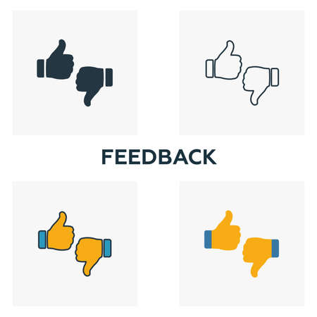 Feedback outline icon. Thin line element from crowdfunding icons collection. UI and UX. Pixel perfect feedback icon for web design, apps, software, print usage. Ilustração
