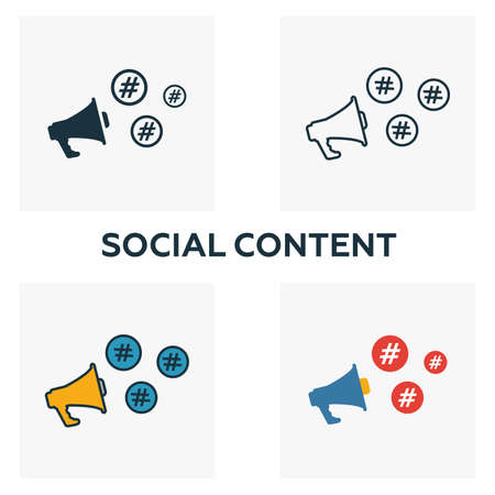 Social Content icon set. Four elements in diferent styles from content icons collection. Creative social content icons filled, outline, colored and flat symbols.
