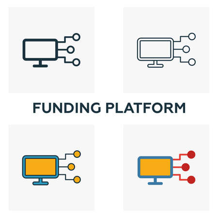 Funding Platform outline icon. Thin line element from crowdfunding icons collection. UI and UX. Pixel perfect funding platform icon for web design, apps, software, print usage.