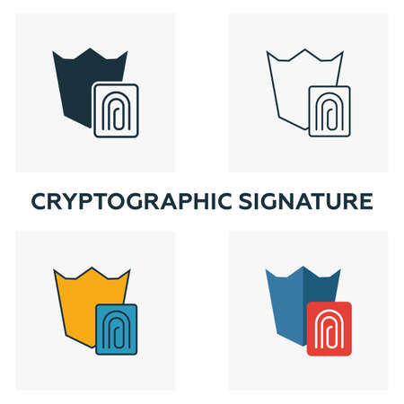 Cryptographic Signature icon set. Four elements in diferent styles from crypto currency icons collection. Creative cryptographic signature icons filled, outline, colored and flat symbols.