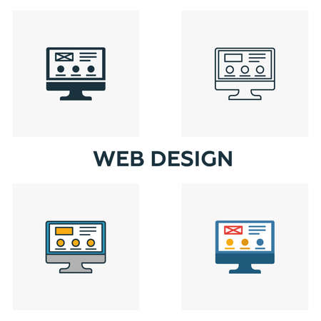 Web Design icon set. Four elements in diferent styles from design ui and ux icons collection. Creative web design icons filled, outline, colored and flat symbols.  イラスト・ベクター素材