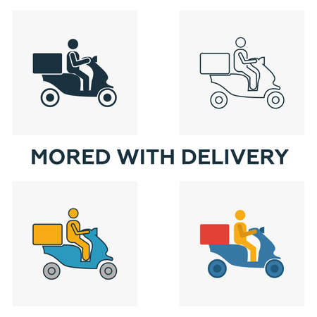 Moped Food Delivery icon set. Four elements in diferent styles from fastfood icons collection. Creative moped food delivery icons filled, outline, colored and flat symbols.