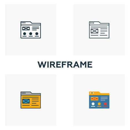 Wireframe icon set. Four elements in diferent styles from design ui and ux icons collection. Creative wireframe icons filled, outline, colored and flat symbols.