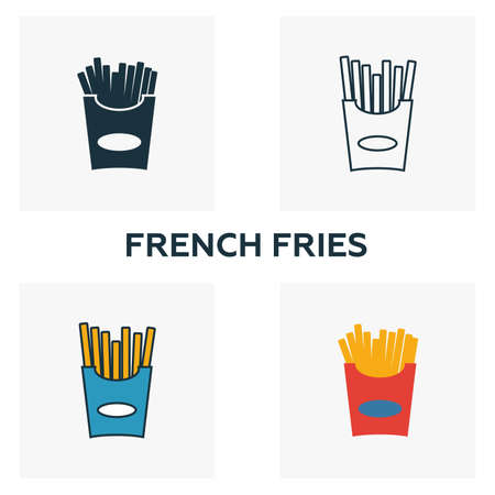 French Fries icon set. Four elements in diferent styles from fastfood icons collection. Creative french fries icons filled, outline, colored and flat symbols.