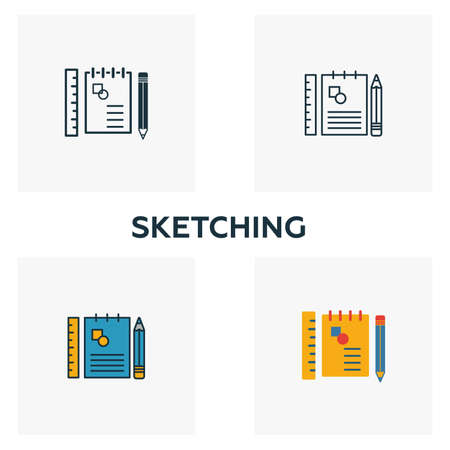 Sketching icon set. Four elements in diferent styles from design ui and ux icons collection. Creative sketching icons filled, outline, colored and flat symbols. Illustration
