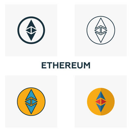 Ethereum icon set. Four elements in diferent styles from crypto currency icons collection. Creative ethereum icons filled, outline, colored and flat symbols