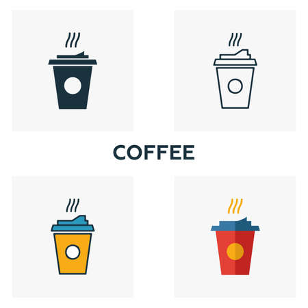 Coffee icon set. Four elements in diferent styles from fastfood icons collection. Creative coffee icons filled, outline, colored and flat symbols