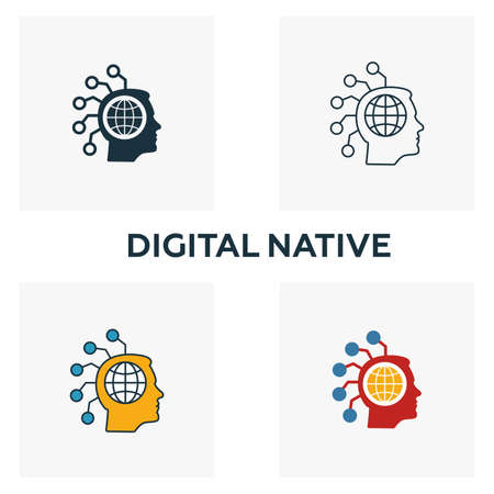 Digital Native icon set. Four elements in diferent styles from fintech icons collection. Creative digital native icons filled, outline, colored and flat symbols