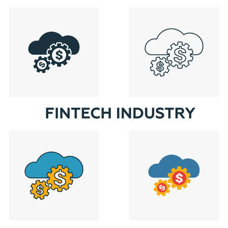Fintech Industry icon set. Four elements in diferent styles from fintech icons collection. Creative fintech industry icons filled, outline, colored and flat symbols