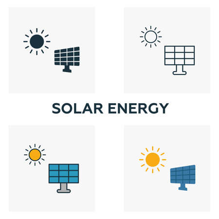 Solar Energy icon set. Four elements in diferent styles from power and energy icons collection. Creative solar energy icons filled, outline, colored and flat symbols