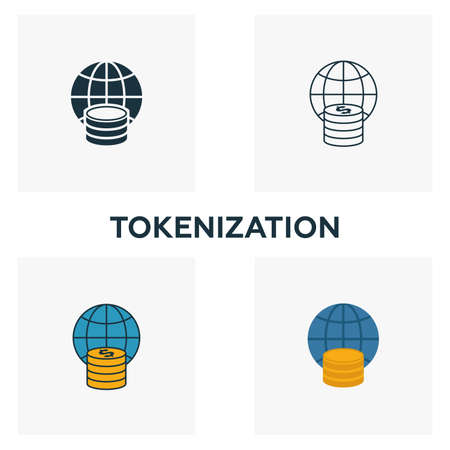 Tokenization icon set. Four elements in diferent styles from fintech icons collection. Creative tokenization icons filled, outline, colored and flat symbols Ilustração