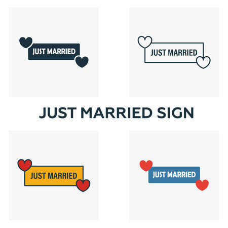 Just Married Sign icon set. Four elements in diferent styles from honeymoon icons collection. Creative just married sign icons filled, outline, colored and flat symbols Иллюстрация
