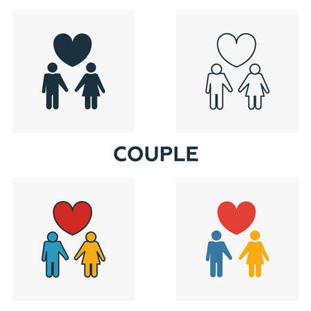 Couple icon set. Four elements in diferent styles from honeymoon icons collection. Creative couple icons filled, outline, colored and flat symbols Illustration