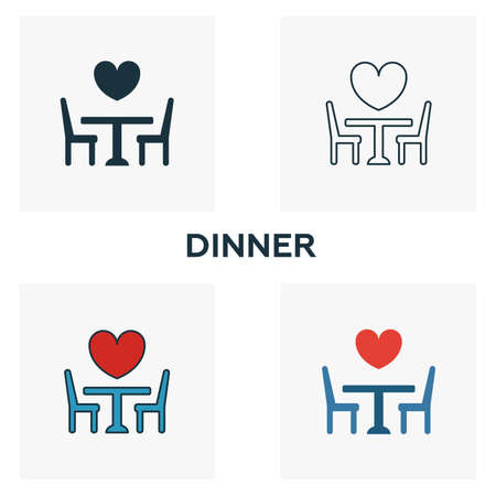 Dinner icon set. Four elements in diferent styles from honeymoon icons collection. Creative dinner icons filled, outline, colored and flat symbols