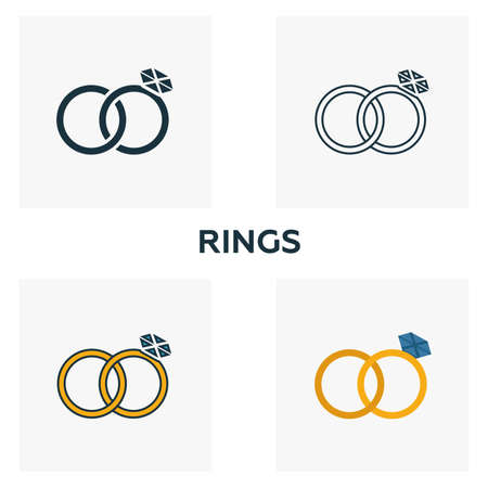 Rings icon set. Four elements in diferent styles from honeymoon icons collection. Creative rings icons filled, outline, colored and flat symbols