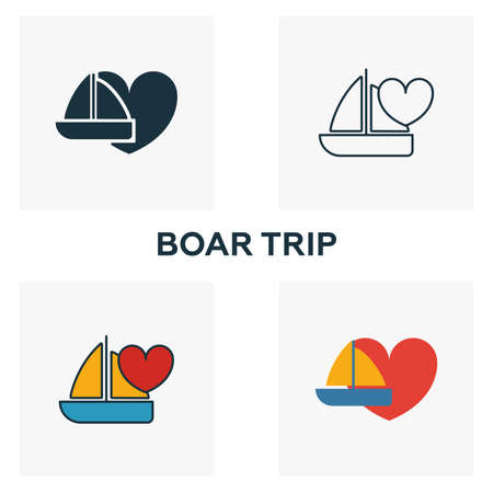 Boar Trip icon set. Four elements in diferent styles from honeymoon icons collection. Creative boar trip icons filled, outline, colored and flat symbols.