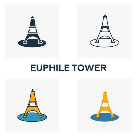 Euphile Tower icon set. Four elements in diferent styles from honeymoon icons collection. Creative euphile tower icons filled, outline, colored and flat symbols.