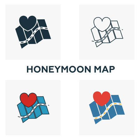 Honeymoon Map icon set. Four elements in diferent styles from honeymoon icons collection. Creative honeymoon map icons filled, outline, colored and flat symbols.