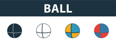 Ball icon set. Four elements in diferent styles from baby things icons collection. Creative ball icons filled, outline, colored and flat symbols.