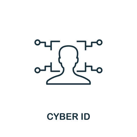 Cyber Id outline icon. Thin line concept element from fintech technology icons collection. Creative Cyber Id icon for mobile apps and web usage.